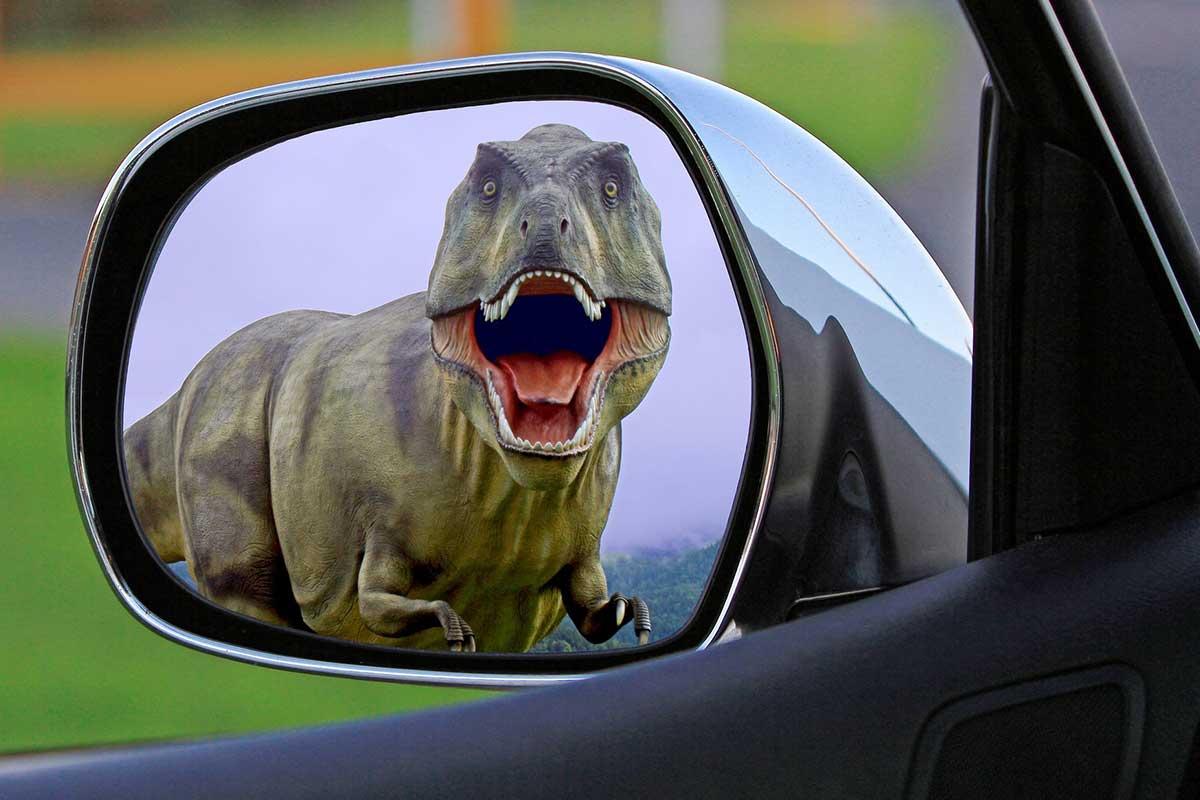 dinosaur in car window