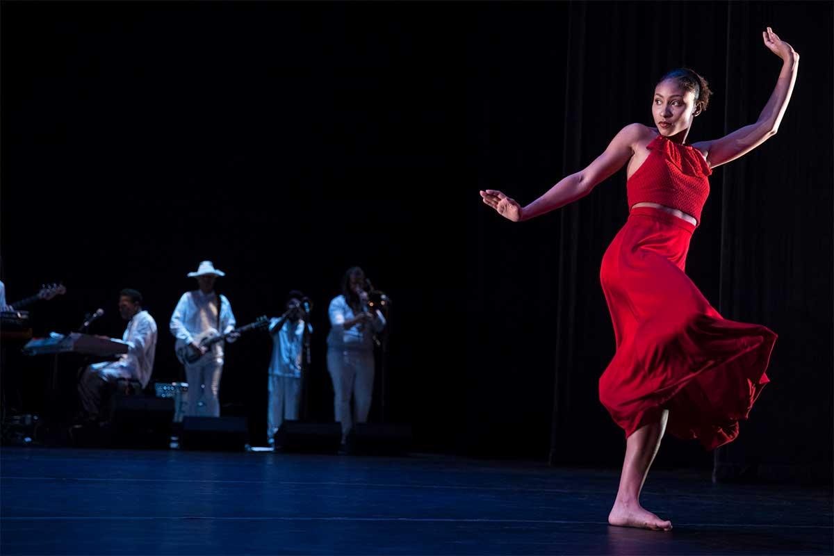 woman in red dancing